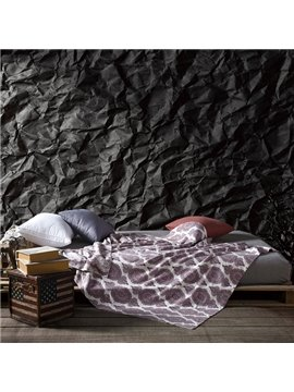 Super Soft Classic Damask Pattern Reversible Cotton Knitted Blanket