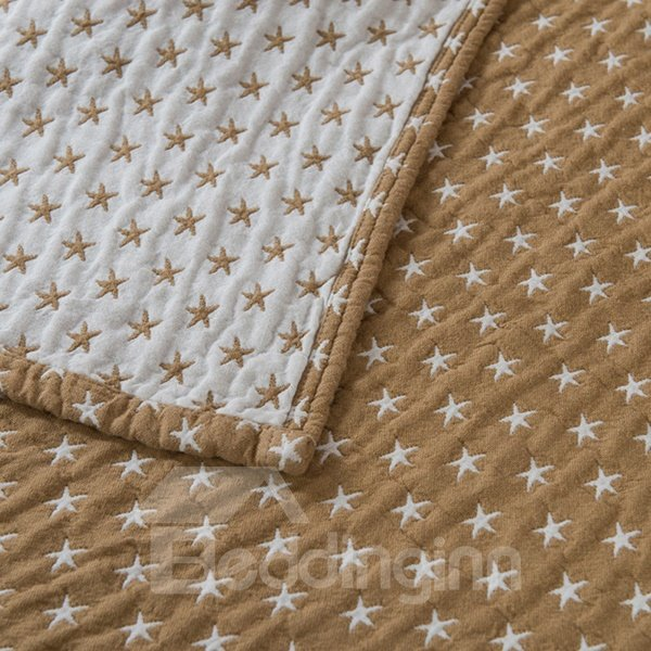 Lush Starfish Jacquard Camel Cotton Towel Quilt