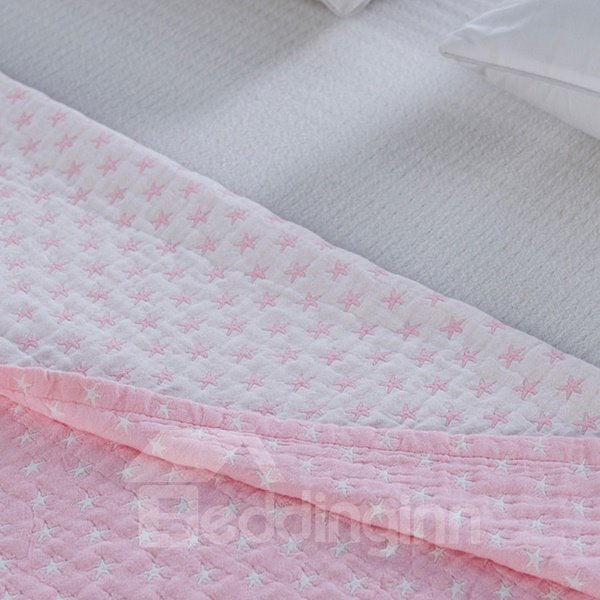 Fancy Dreamy Starfish Jacquard Pink Cotton Towel Quilt