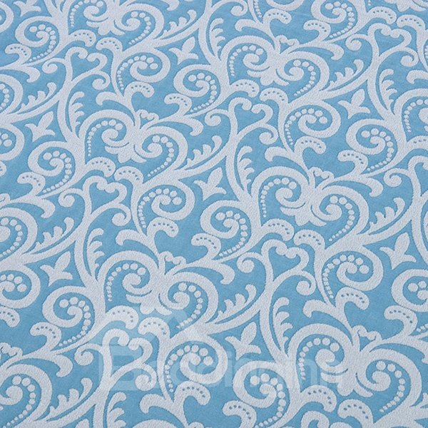 Attractive Damask Pattern Jacquard Light Blue Cotton Towel Quilt