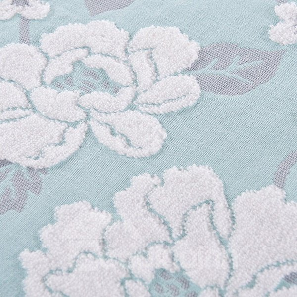 Beautiful Peony Pattern Jacquard Turquoise Cotton Towel Quilt