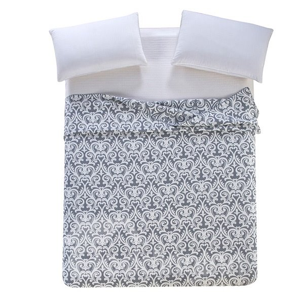 Luxurious Damask Pattern Jacquard Gray Cotton Towel Quilt