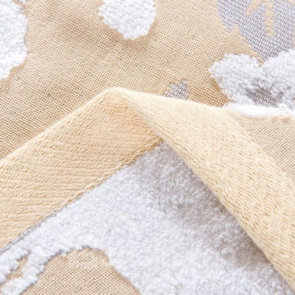Luxury Peony Pattern Jacquard Champagne Cotton Towel Quilt