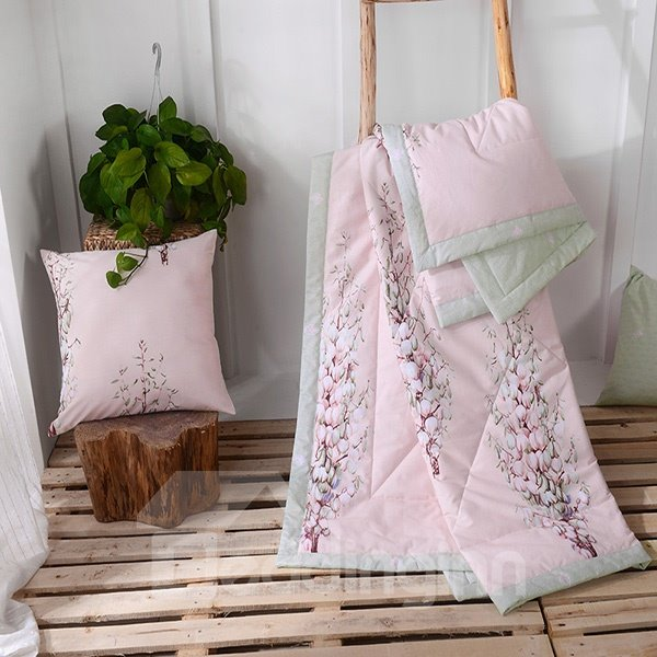 Chic Flowers Print Pink Cotton Air Conditioning Quilt 12207349