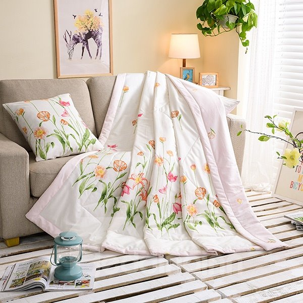 Lightweight Elegant Flower Print Cotton Quilt