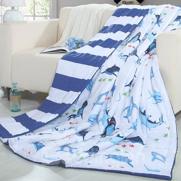 Unique Design Cartoon Shark Print Blue Cotton Quilt