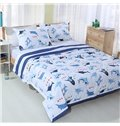 Unique Design Cartoon Shark Print Blue Cotton Quilt