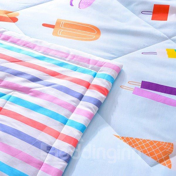 Fancy Delicious Ice Cream Print Blue Cotton Quilt