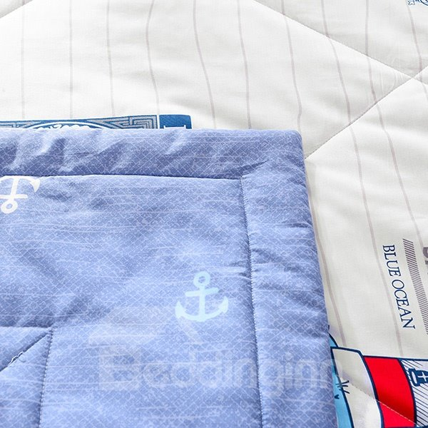 Popular Nautical Theme Print Navy Blue Cotton Quilt