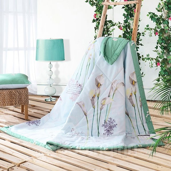 Fresh Green Elegant Calla Lily Print Cotton Quilt