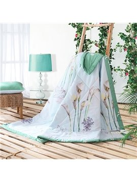Fresh Green Elegant Calla Lily Print Cotton Quilt