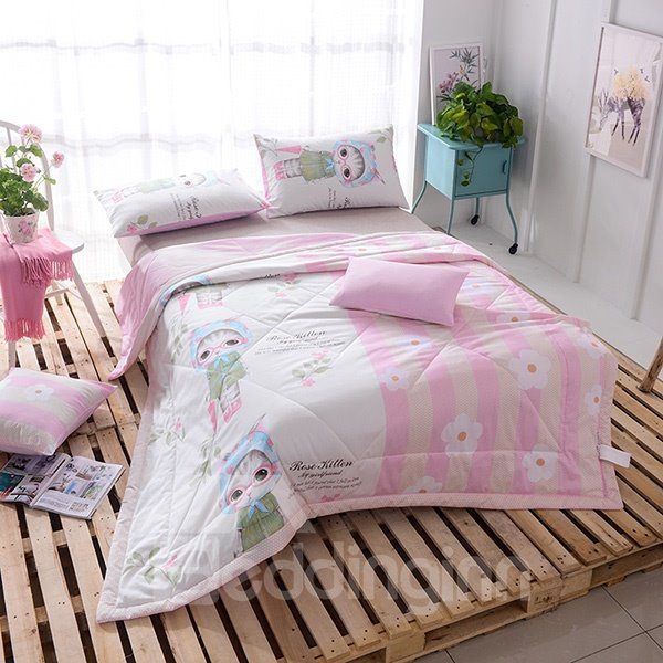 Soft and Comfortable Cartoon Kitty Print Cotton Quilt