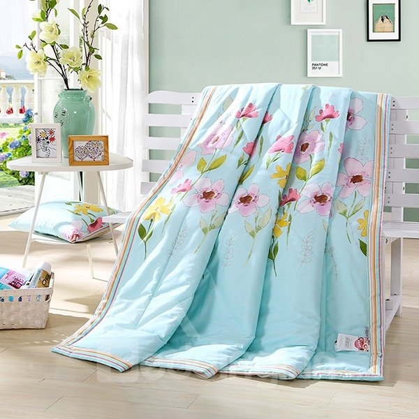 Super Soft Pansy Print Cotton Air Conditioning Quilt 12207364