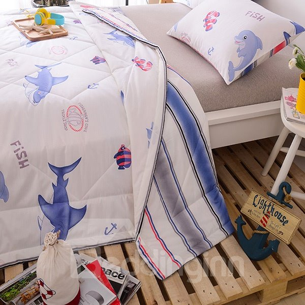 Splendid Lovely Cartoon Shark Print Cotton Quilt