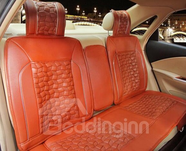 Fashional Square Block Element Style Leather Universal Car Seat Cover