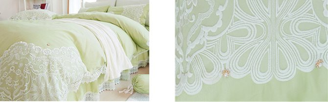 Graceful Olive Green Lace Embellishment 4-Piece Cotton Duvet Cover Sets