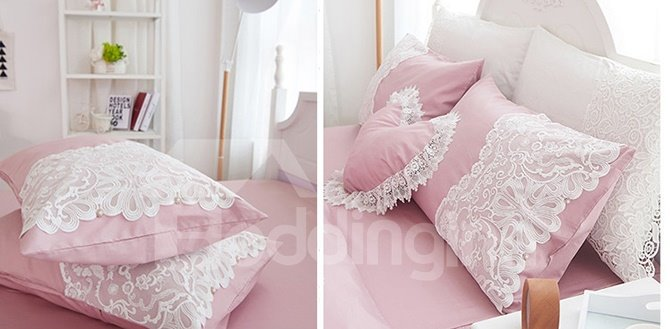 Elegant Cameo Brown Lace Embellishment 4-Piece Cotton Duvet Cover Sets