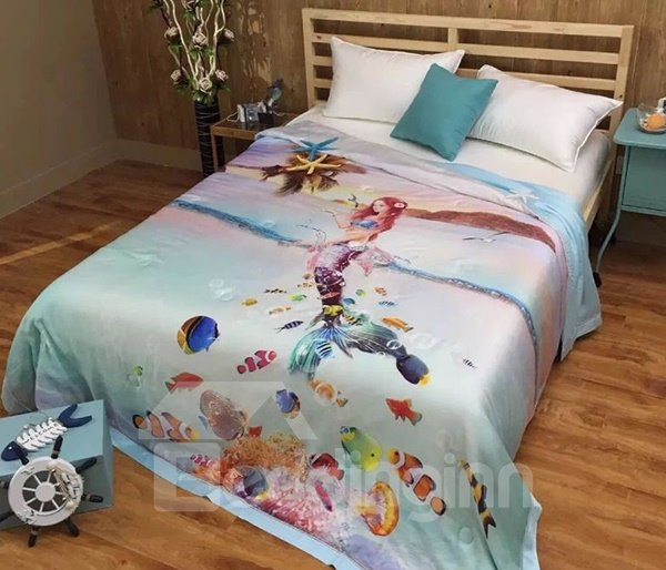 Super Soft Graceful Mermaid Print Tencel Quilt