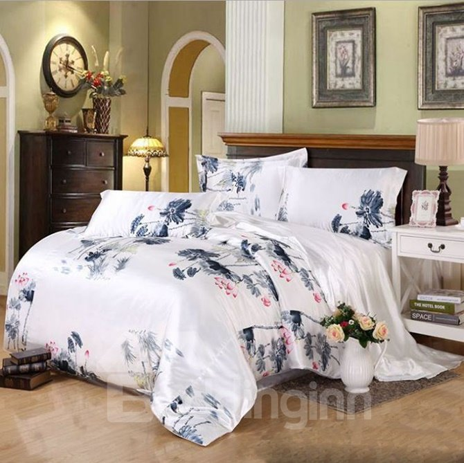 Noble Ink Lotus Print Silk-like 4-Piece Duvet Cover Sets
