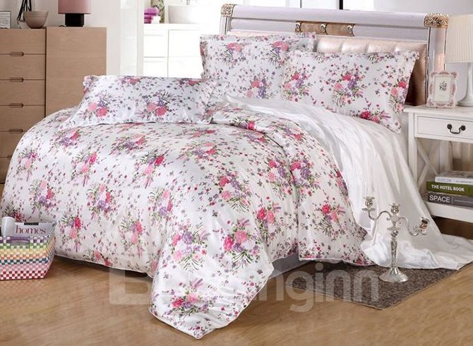 Rural Style Floral Print Silk-like 4-Piece Duvet Cover Sets