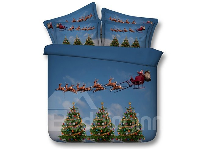 Santa Claus and Christmas Tree Print 5-Piece Comforter Sets
