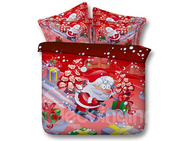 Personalized Santa on Skis Print Red 4-Piece Duvet Cover Sets