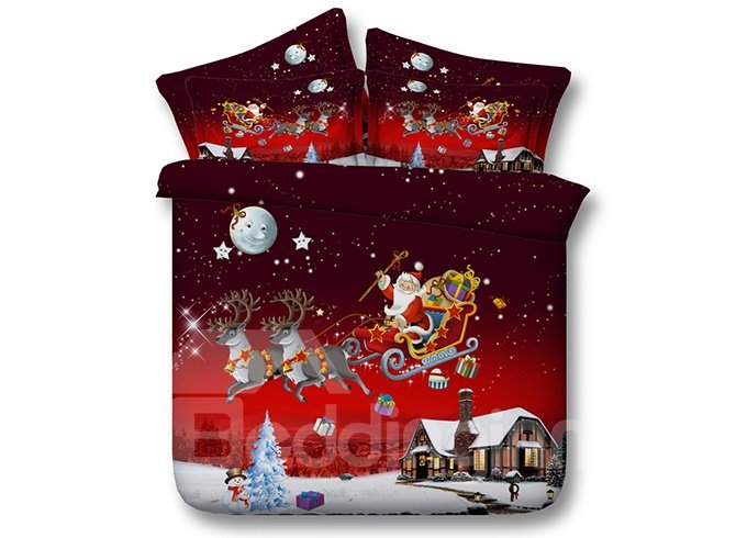 Santa Claus Reindeer Flying Across Sky Red 4-Piece Duvet Cover Sets