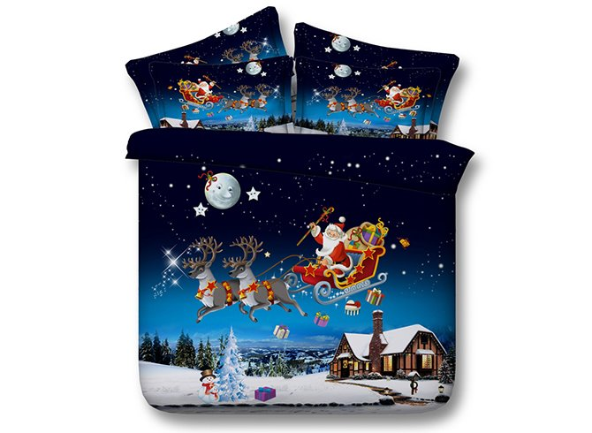 Santa Sleigh Reindeer Flying Over Winter Countryscape 4-Piece Duvet Cover Sets