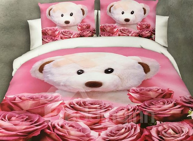 Lovely Bear Doll and Rose Print 4-Piece Polyester Duvet Cover 12210571