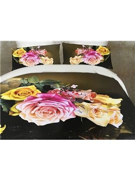 Colorful Roses 3D Printed 4-Piece Polyester Duvet Cover