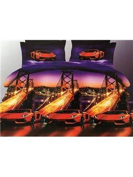 Modern Luxury Cars Print 4-Piece Polyester Duvet Cover