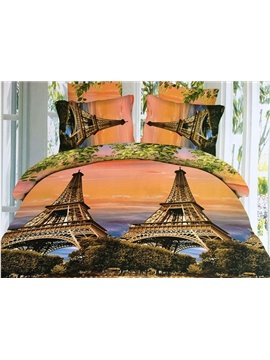 Romantic Eiffel Tower Print 4-Piece Polyester Duvet Cover