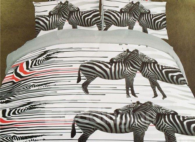 Amazing 3D Zebra Print 4-Piece Polyester Duvet Cover