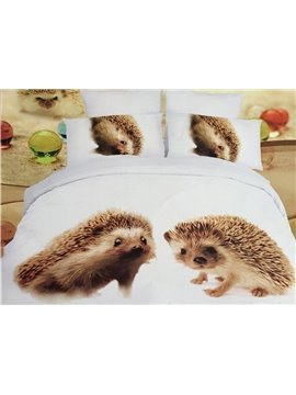 Naughty Hedgehog Print 4-Piece Polyester 3D Duvet Cover
