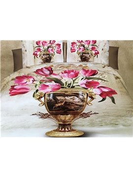 Stylish Tulip in Vase Print 4-Piece Polyester 3D Duvet Cover