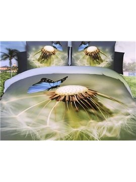 Beautiful Butterfly and Dandelion Print 4-Piece Polyester 3D Duvet Cover