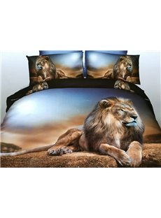 Powerful Lying Lion 4-Piece Polyester 3D Duvet Cover