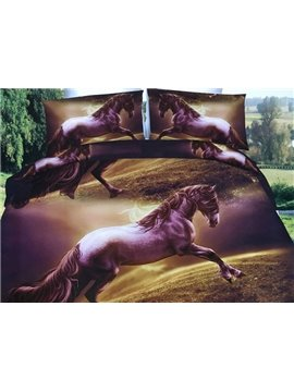 Gorgeous Brown Horse Print 4-Piece Polyester 3D Duvet Cover
