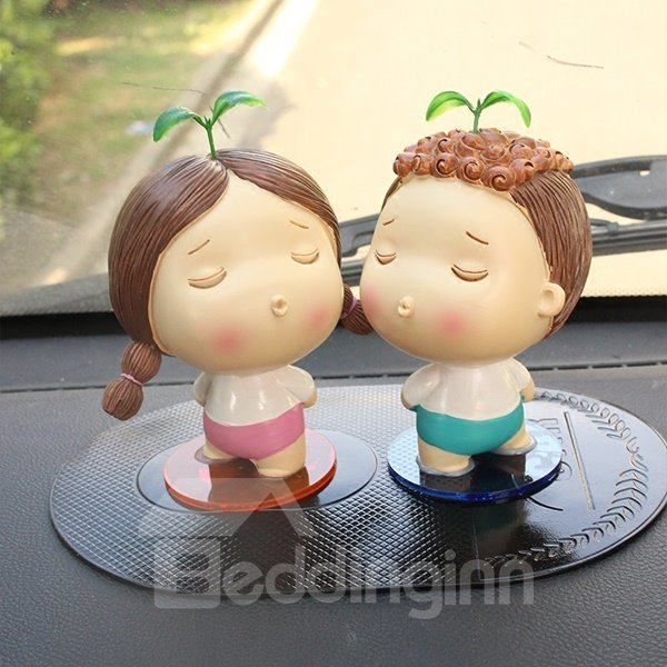 Two Cute Cartoon Child With Grass Ask For Kiss Creative Car Decor