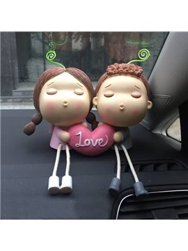 Two Lovely Cartoon Sweetheart With Love Style Creative Car Decor