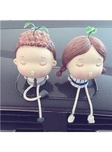 Fresh And Beautiful Cartoon Characters Leisurely Sitting Creative Car Decor