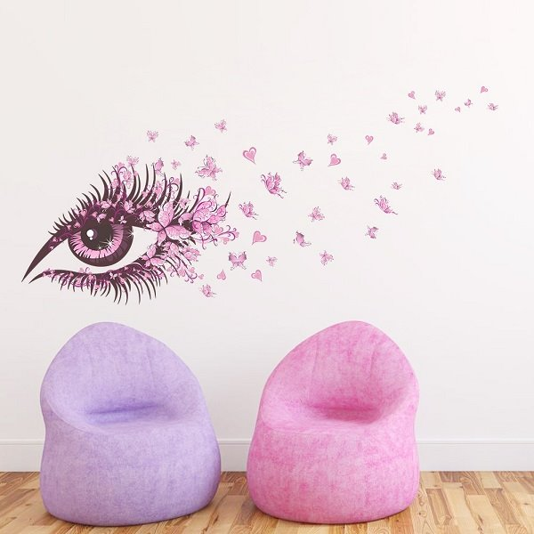 Pink Fairy Eye and Butterflies Print Kids Room Wall Decals