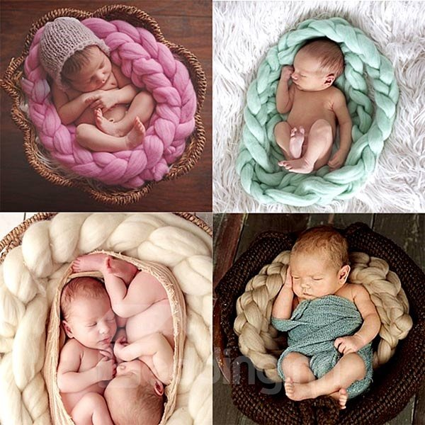 Knitted Crochet Braid Shaped Baby Blanket Photo Prop