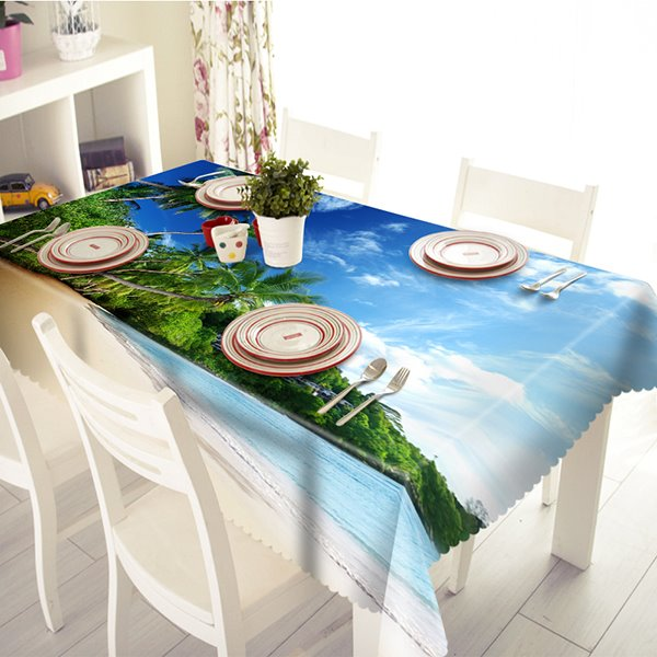 Beautiful Polyester Sandbeach and Sea Scenery Pattern 3D Tablecloth