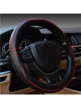 Classic Black And Red Streamline Design Leather Steering Wheel Cover