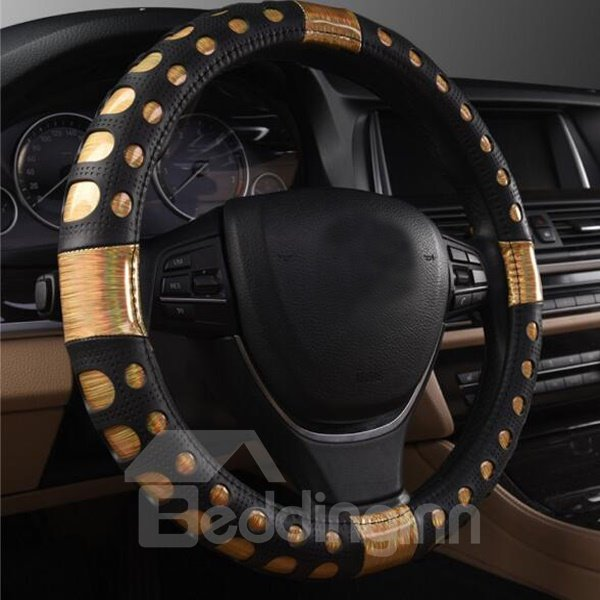Luxury Gold Style Good Non-Slip Leather Material Steering Wheel Cover