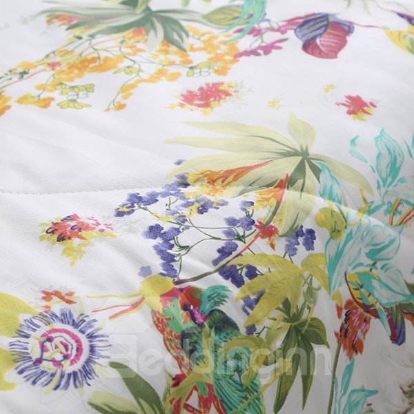 Rural Style Splendid Magnolia Print Air Conditioner Quilt