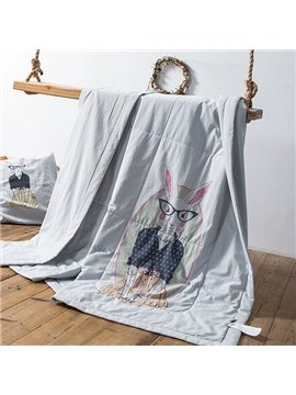 Washable Cartoon Rabbit Print Gray Cotton Quilt