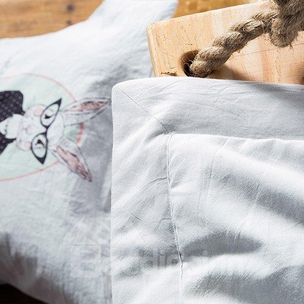 Washable Cartoon Rabbit Print Gray Cotton Quilt