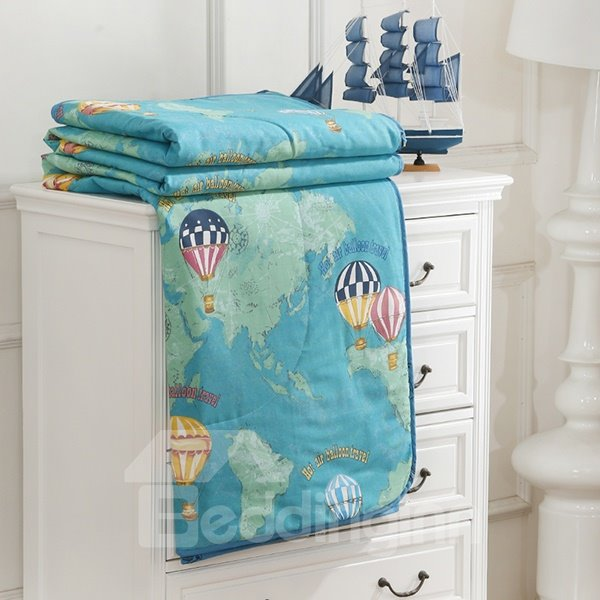 Fashionable Colorful Hot-air Balloon Print Cotton Quilt